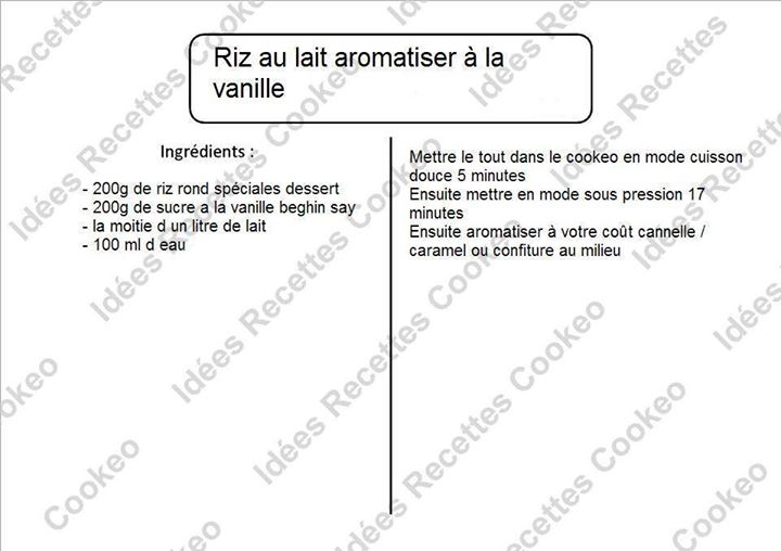 riz au lait aromatis la vanille recettes cookeo. Black Bedroom Furniture Sets. Home Design Ideas